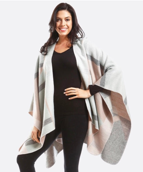 Gray and Pink Cozy Wrap