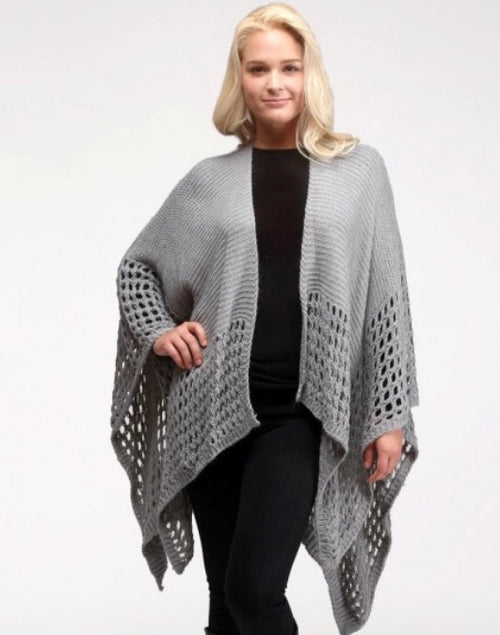 Gray Crochet Wrap