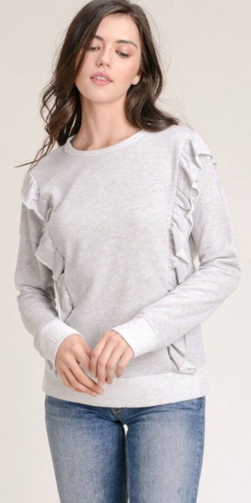 Gray Ruffled Sweatshirt