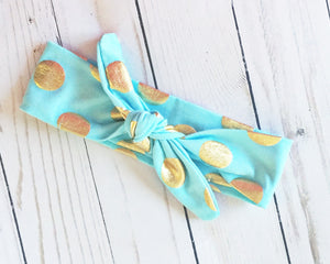 Powder Blue and Gold Head Wrap