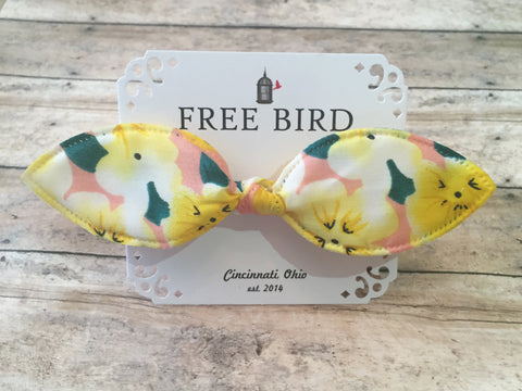 Free Bird Yellow Floral Bow Tie