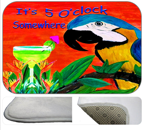 Parrot head 5 O'Clock Somewhere soft non-skid floor mat