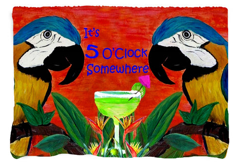 Parrot head It's 5 o'clock somewhere margaritta throw blanket from my original art