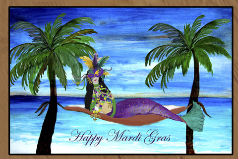 Mardi Gras Mermaid Art Floor Mat