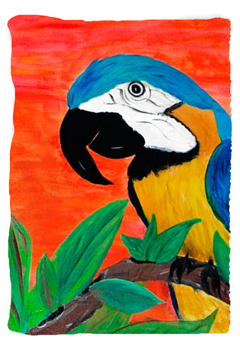 Vertical design - Parrot Head Tropical Bird Throw Blanket from my original art