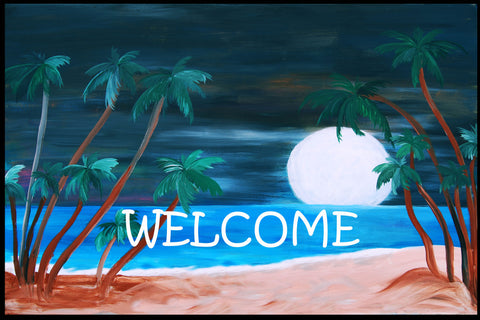 Welcome tropical moonlight beach door floor mat from my art.