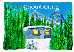 Snowbound  Air stream camper in the mountains throw blanket from my art