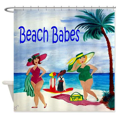 Beach babes coastal shower curtain