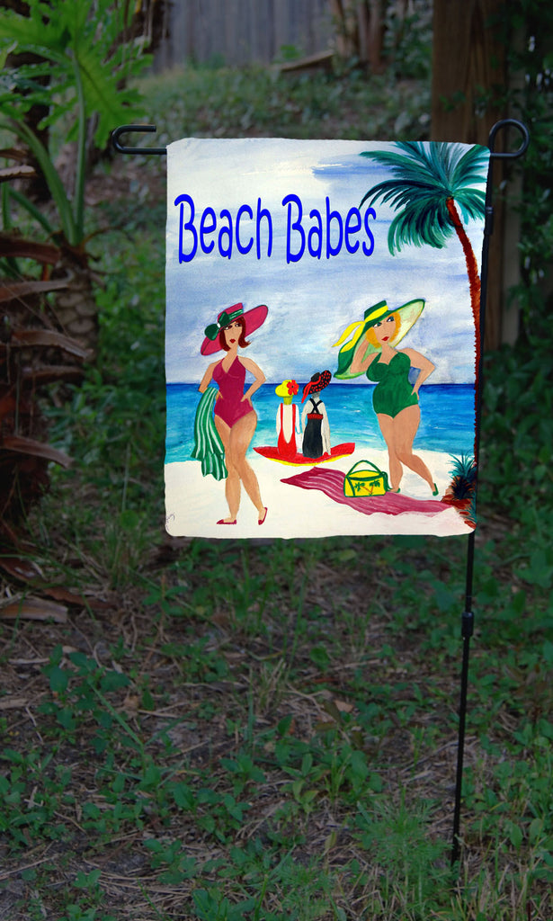 Beach babes beach garden flag - Art Gifts by the Beach