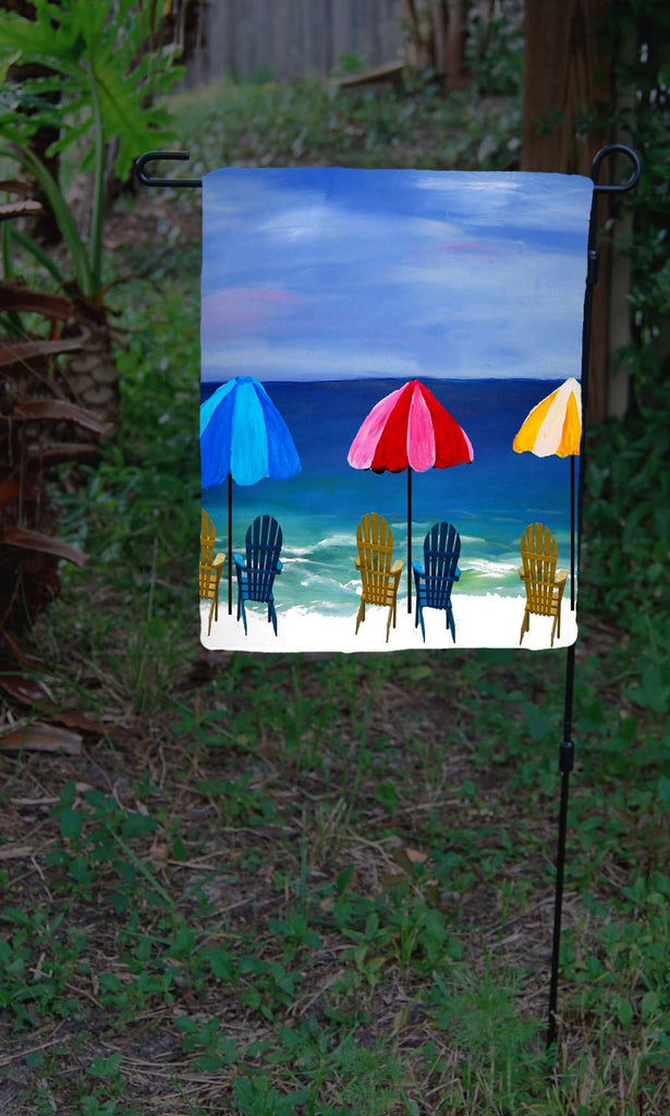 Beach umbrellas garden flag - Art Gifts by the Beach