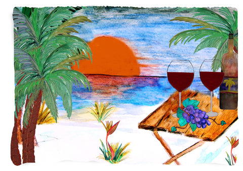 Beach sunset wine beach towel from my art