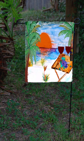 Beach wine time romantic art garden flag
