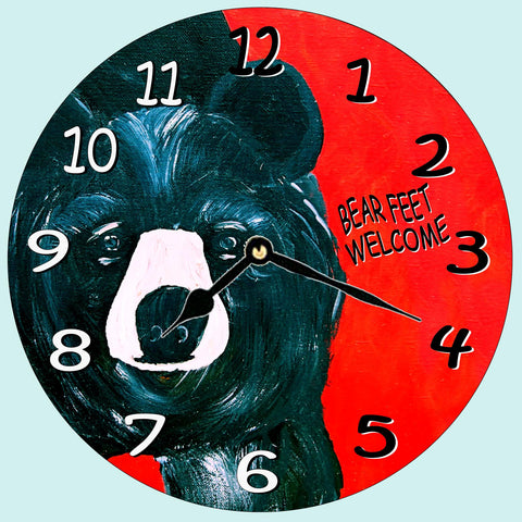 Bear feet Welcome  Wall Clock