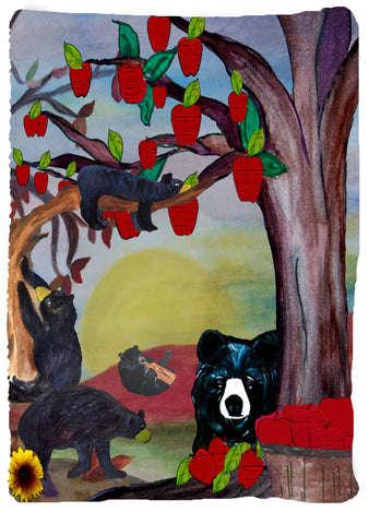 Vertical Apples and black bear throw blanket from my original art