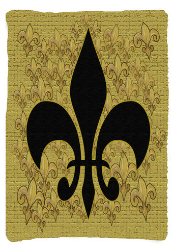 Vertical Black and gold fleur de lis throw blanket from my original art