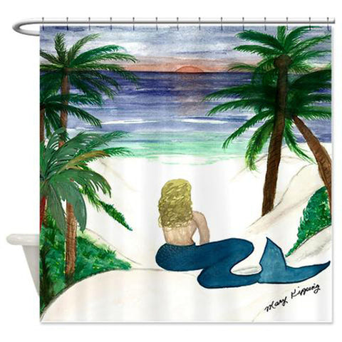 Beach blonde mermaid shower curtain
