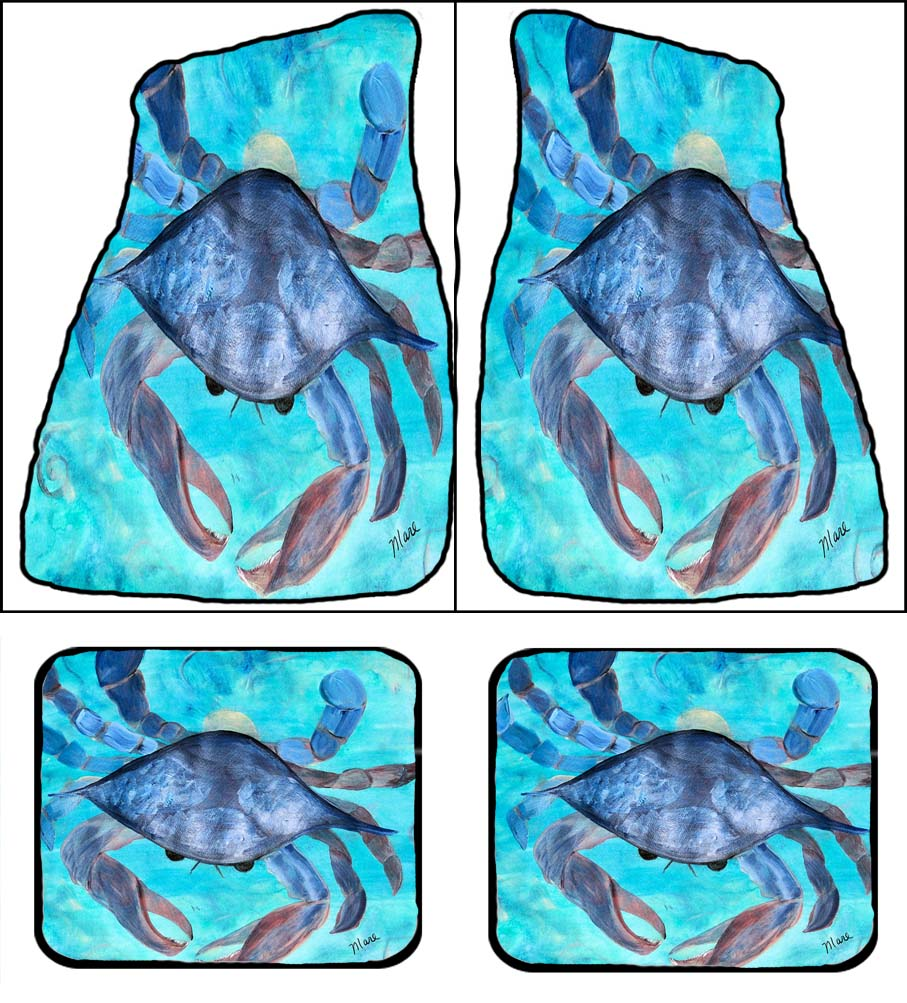 Blue crab beach coastal car floor mats