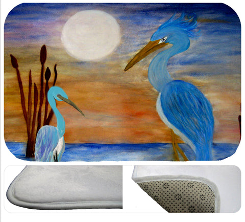 Blue herons soft floor mat