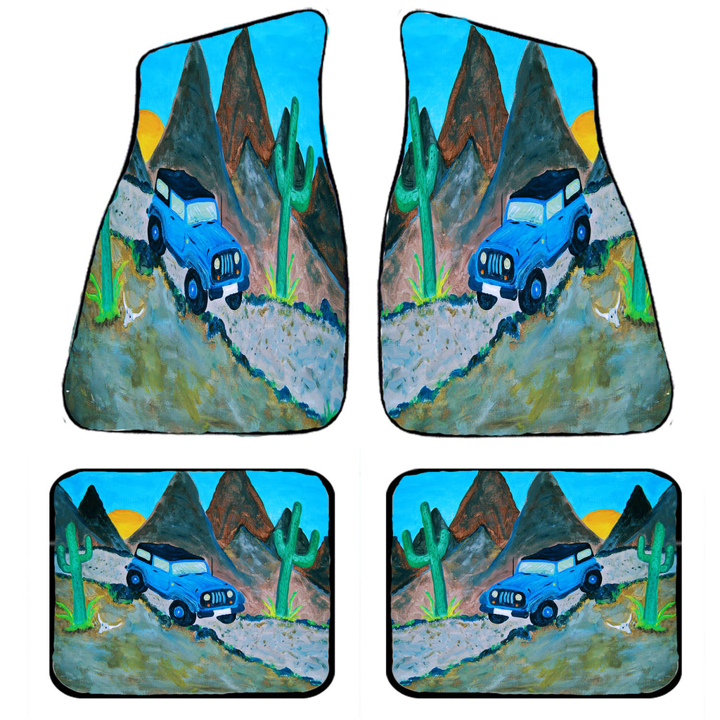 Blue jeep art car mats from art - Art Gifts by the Beach