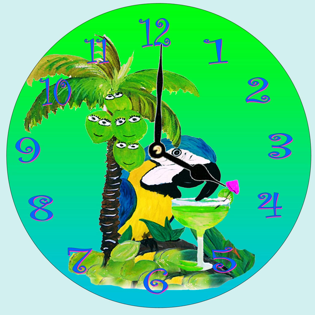 Blue Parrot  Wall Clock - Art Gifts by the Beach