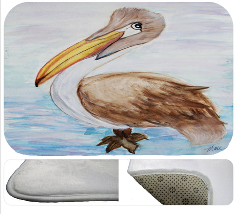 Brown coastal pelican soft floor mat