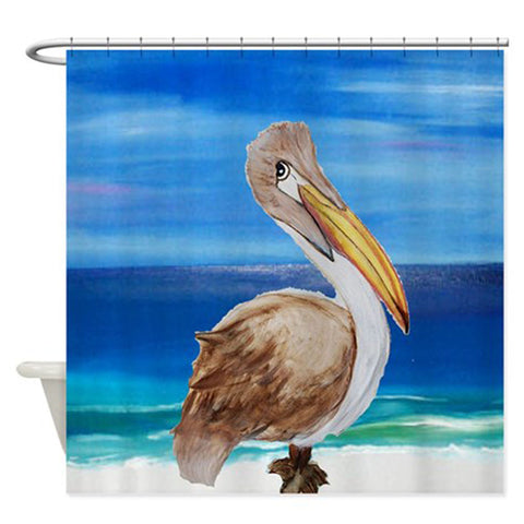 Brown pelican on the beach shower curtain