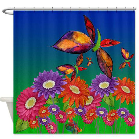 Daisies and butterflies floral shower curtain