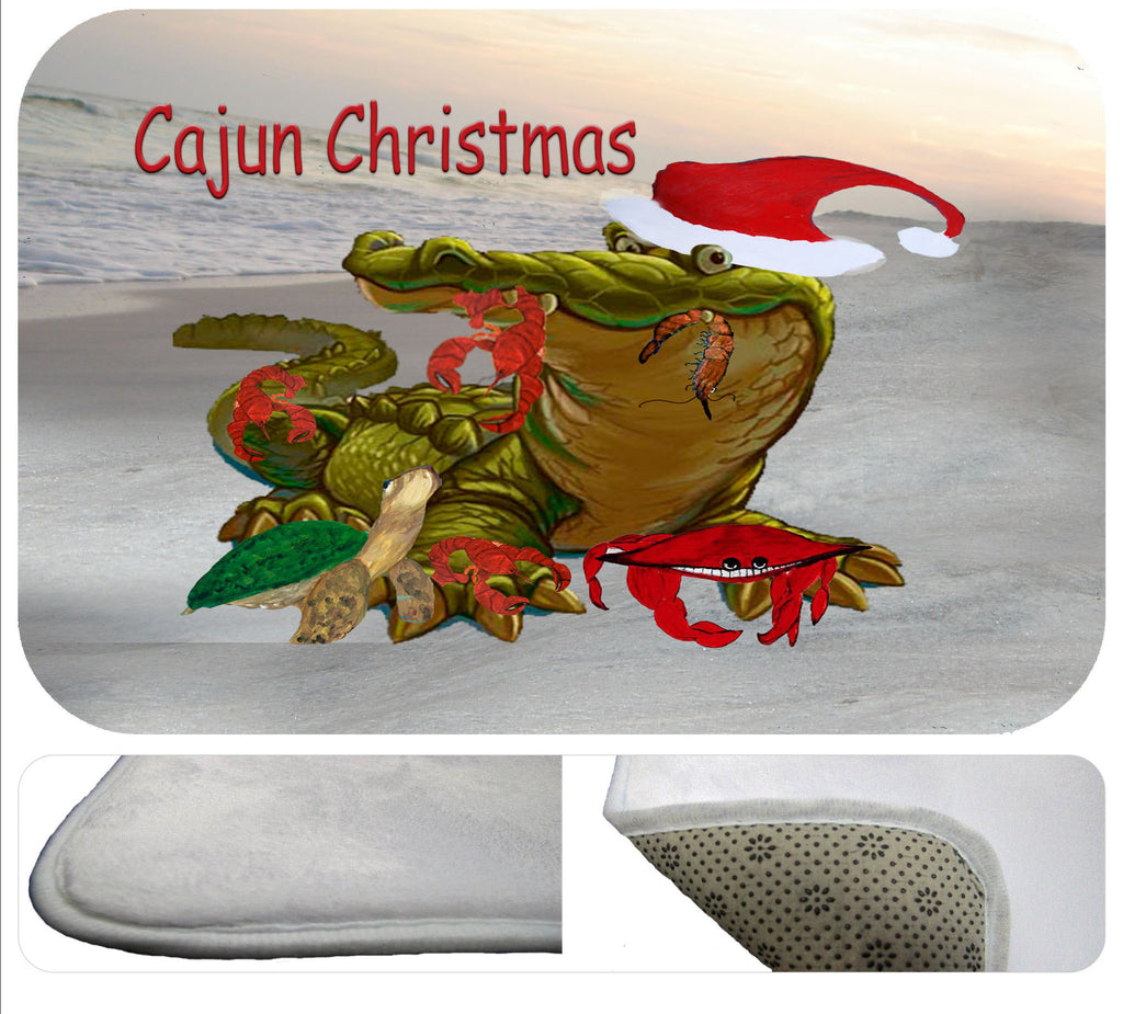 Cajun Christmas shower or  bath mat - Art Gifts by the Beach