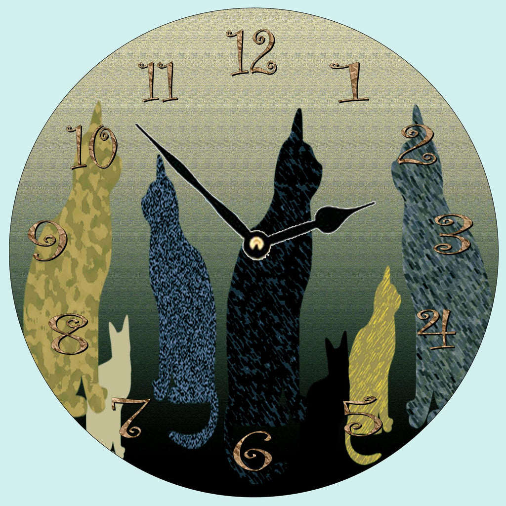Cats Wall clock - Art Gifts by the Beach