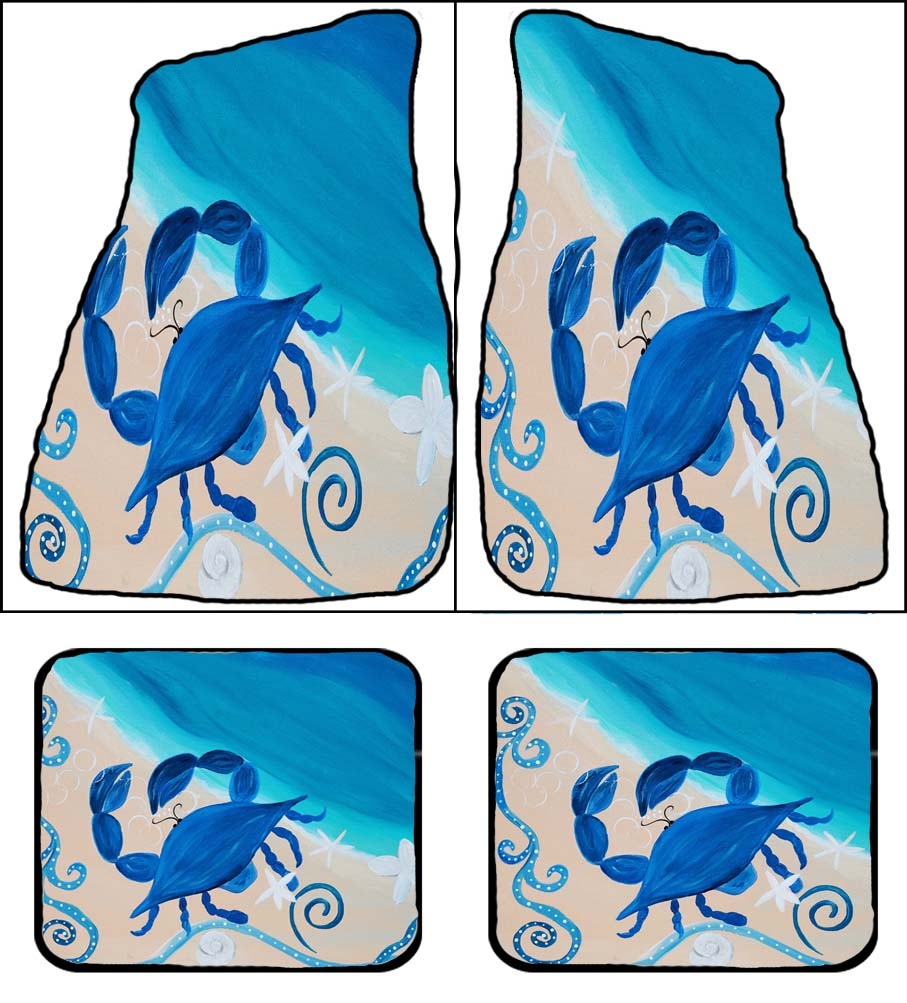 Coastal blue crab beach coastal car floor mats