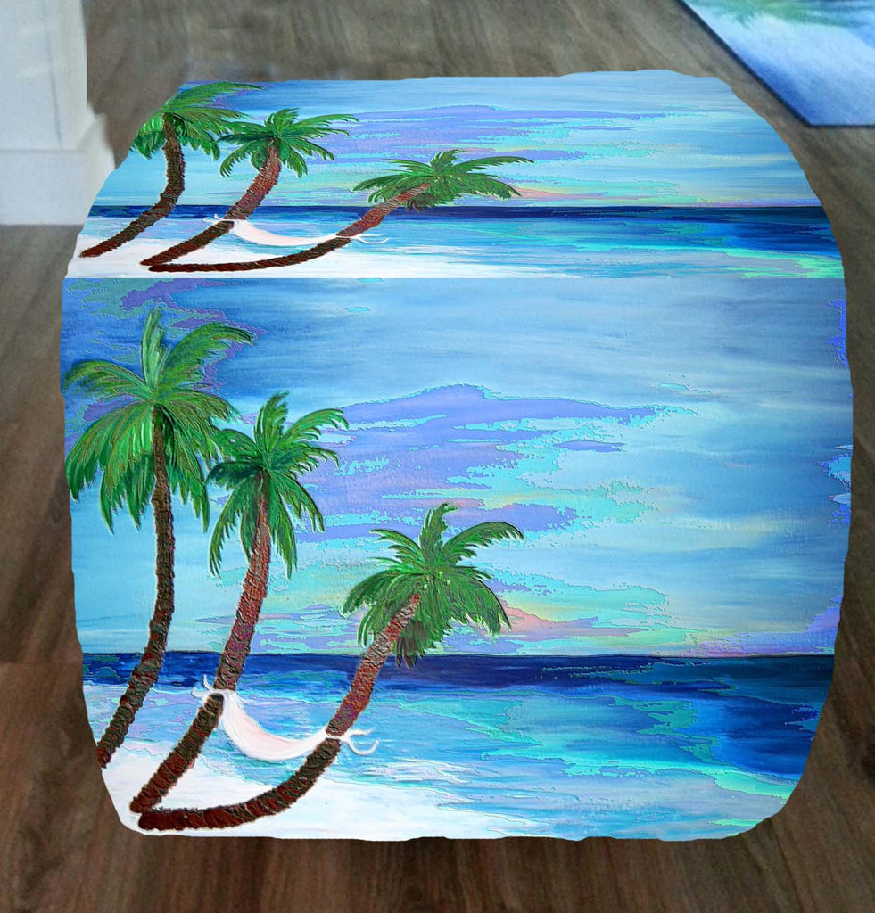 Coastal palms beach art ottoman - Art Gifts by the Beach
