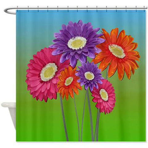 Colorful daisies floral shower curtain