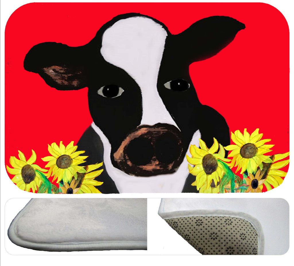 Cow and sunflowers bath tub or shower bath mat from my art - Art Gifts by the Beach
