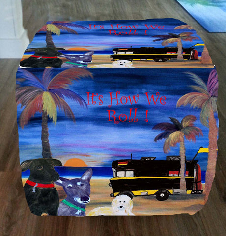 Dogs on the beach camper  how we roll art ottoman