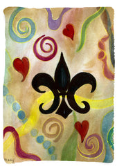 Vertical design - Black fleur de lis and hearts throw blanket from my original art - Art Gifts by the Beach - 1