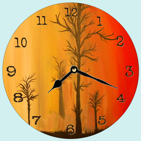 Fire in the Sky with #s Wall Clock