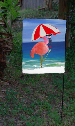Flamingo wine art garden flag