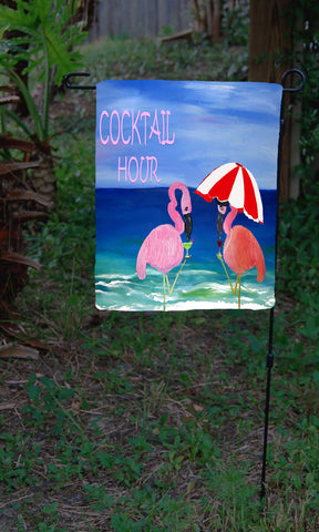 Flamingo beach cocktail hour art garden flag