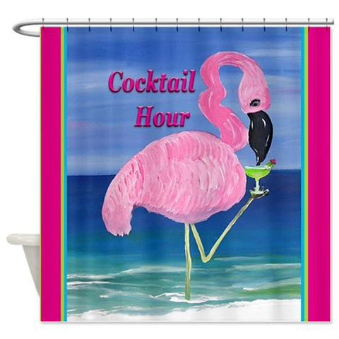 Flamingo cocktail hour tiki bar shower curtain