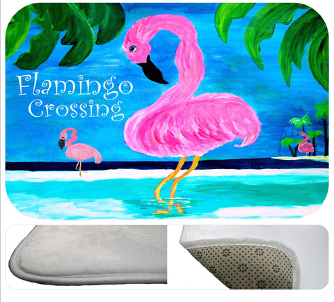 Flamingos crossing soft non-skid floor mat