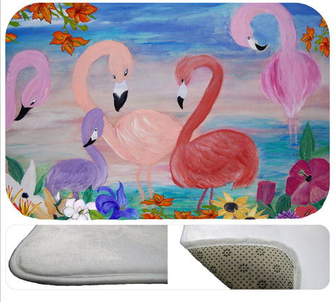 Flamingo garden soft floor mat
