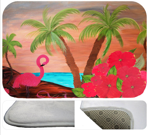 Flamingo in paradise soft floor mat