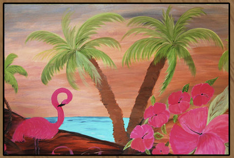 Flamingo in Paradise art floor mat