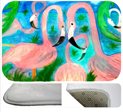 Flamingo party soft floor mat