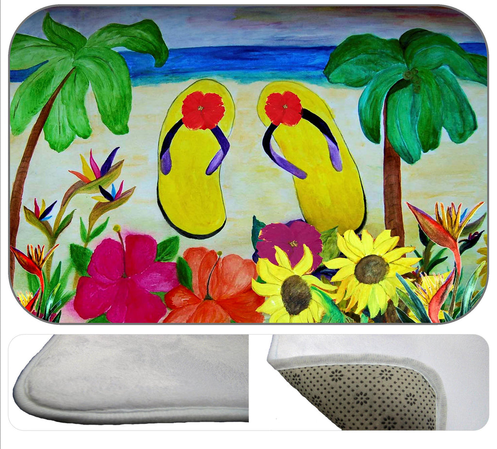 Flowers and flip flops beach bath tub or shower bath mat - Art Gifts by the Beach