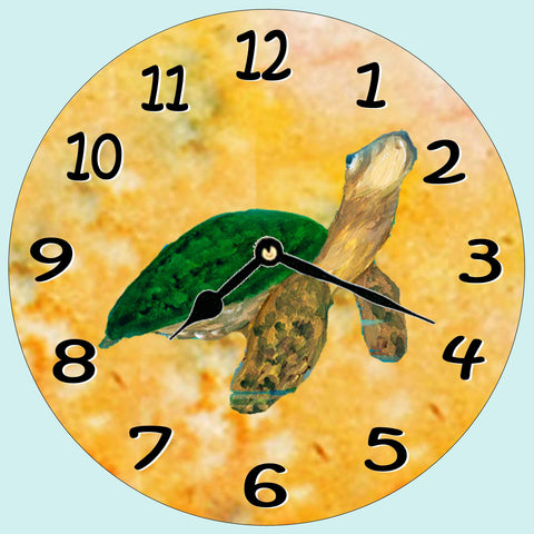 Green Turtle Wall Clock