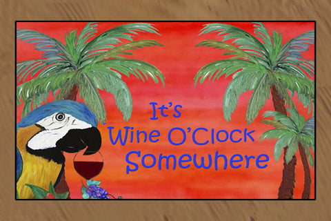 It's Wine O'clock somewherepParrot head art floor mat