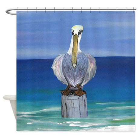 Looney pelican on the beach shower curtain