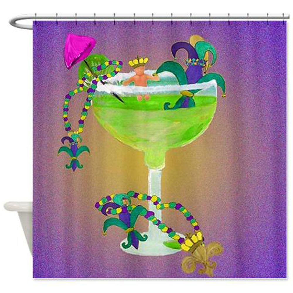 Mardi Gras Margarita Fleur De Lis Shower Curtain