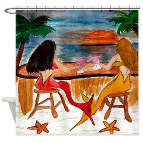 Martini mermaids cocktail hour tiki bar shower curtain